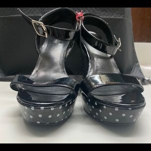 Black and White Polka Patent Leather Heels
